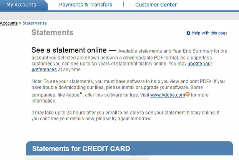 Even if you've opted for paperless billing on your credit card, account statements can always be accessed online. Screen capture by HowStuffWorks staff