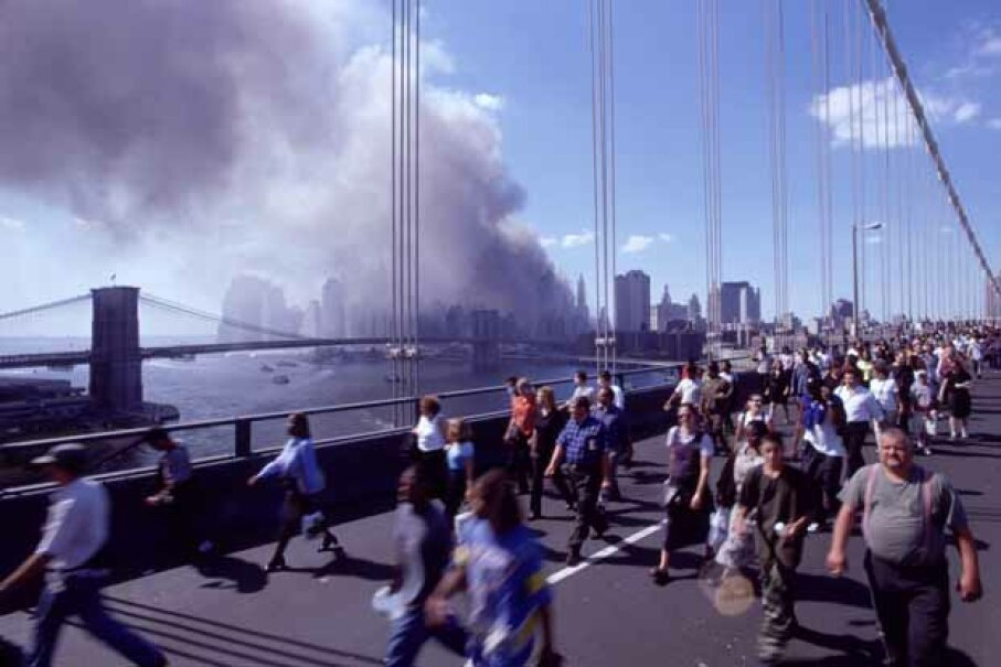 Hundreds cross the Brooklyn Bridge after the bombing of the World Trade Center in 2001. That was an example of a terrorist attack that succeeded but many others have not.  © Robert Essel NYC/CORBIS