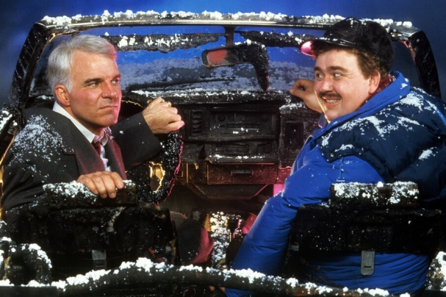 """Steve Martin and John Candy in """"Planes, Trains and Automobiles"""""""