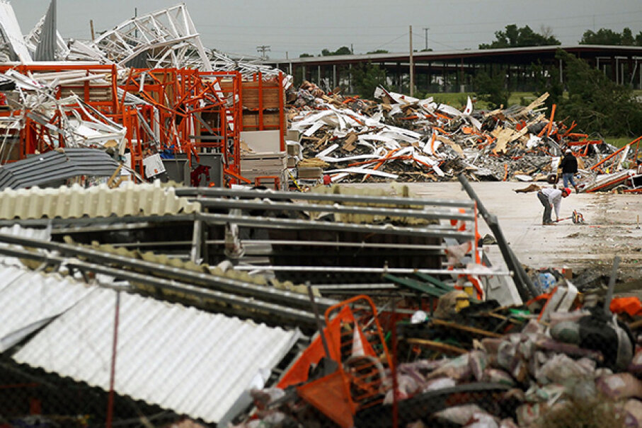 Big box stores are a bad bet when it comes to hiding from tornadoes. This Home Depot was destroyed by the powerful twister that tore through Joplin, Missouri, in 2011. Mario Tama/Getty Images