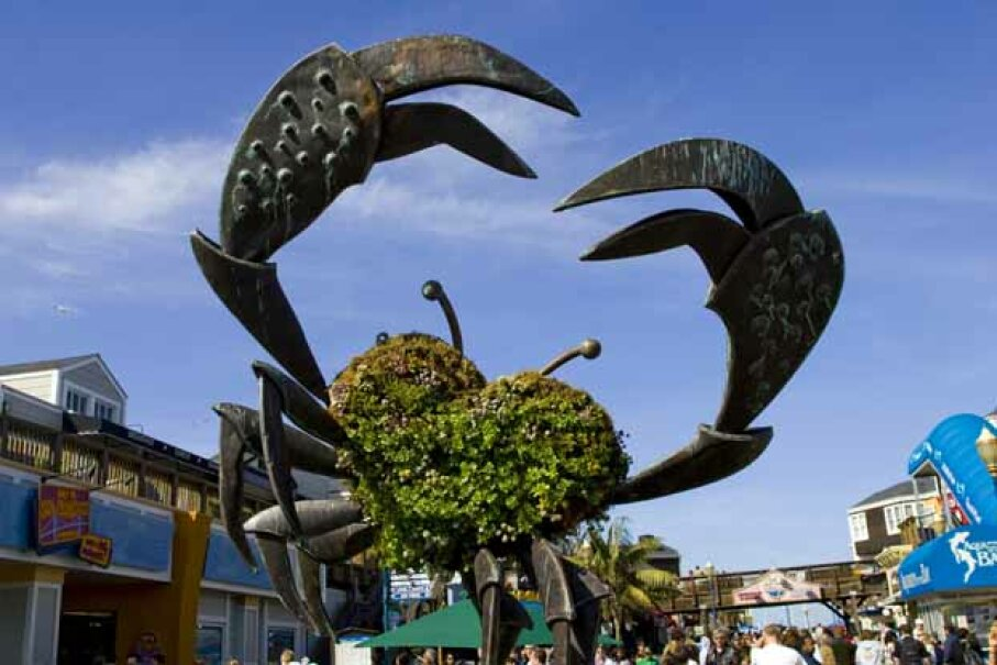 A giant crab greets you at Pier 39, Fisherman's Wharf. Christina Lease/Lonely Plaent Images/Getty Images