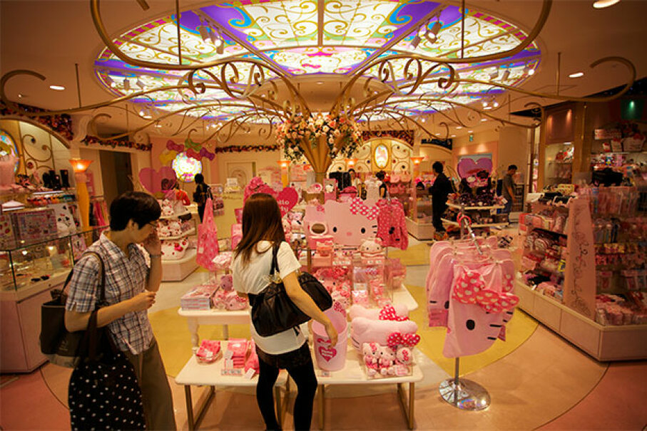 Shoppers enjoy the plethora of pink in a Hello Kitty store in Japan. Will Robb/Gety Images