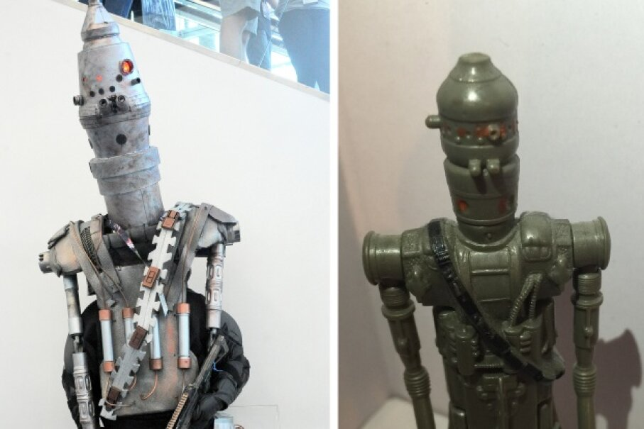 He's a bad guy to his metal core, but you have to appreciate IG-88's ruthlessness and clarity of vision. (We're just glad he's fictional.) Left, a costumed fan at Star Wars Celebration 2015. Right, an IG-88 action figure. © Albert L. Ortega/Getty Images, HowStuffWorks