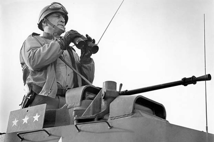 Actor George C. Scott commands the battlefield in a scene from the film 'Patton.' No one knows why his grave is unmarked. Michael Ochs Archives/Getty Images