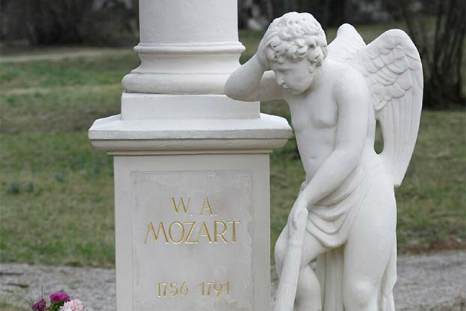 A close-up of Wolfgang Mozart's tombstone; no one is sure whether he is really underneath as he was originally buried in an unmarked grave. © Pascal Deloche /Godong/Corbis