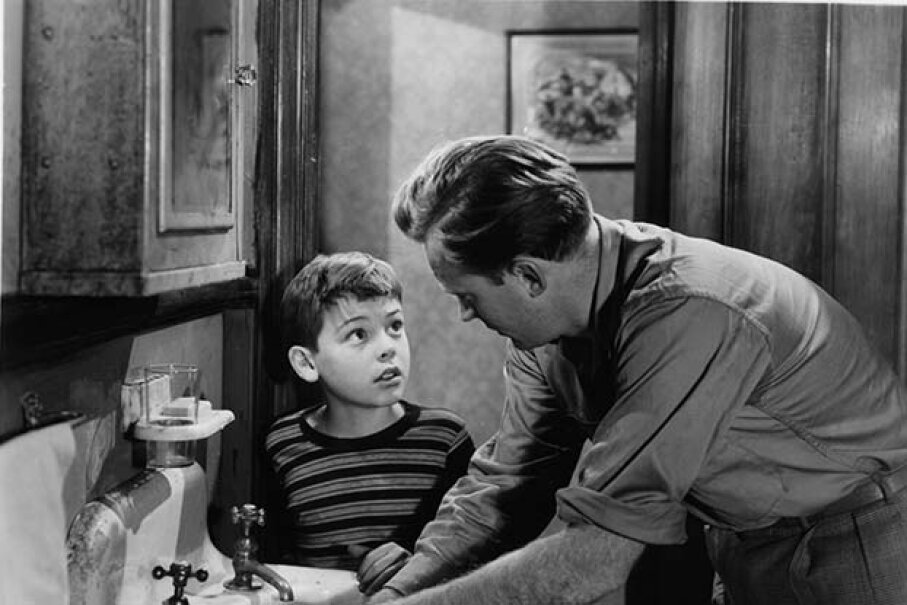 Young Bobby Driscoll looks up at Arthur Kennedy in a scene from 'The Window.' Driscoll died penniless of heart failure and was buried in a pauper's grave. RKO Radio Pictures/Getty Images)