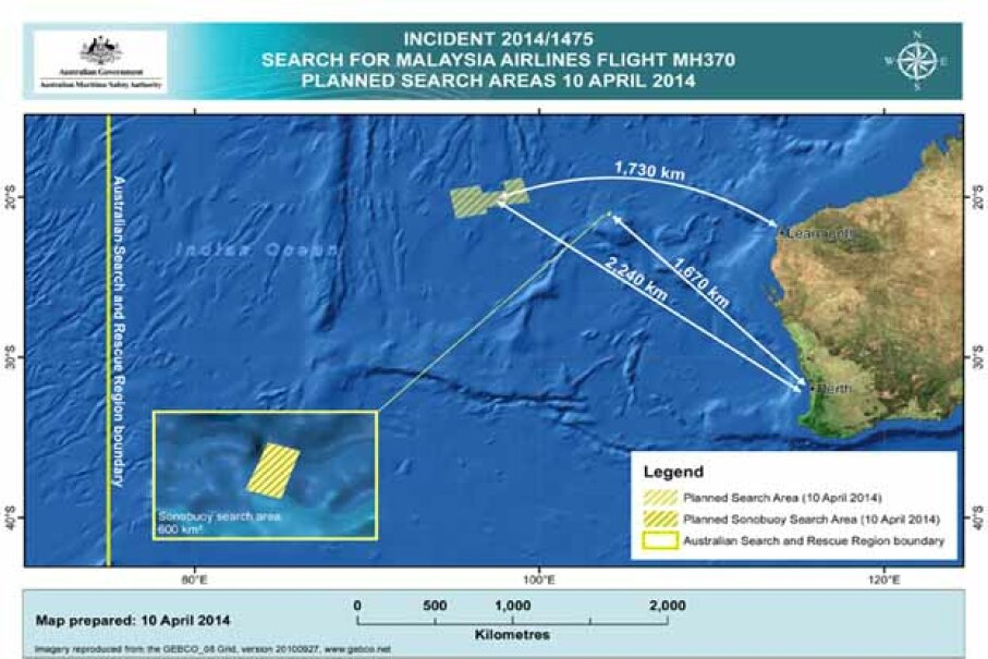 A handout image released by the Australian Maritime Safety Authority in Canberra, Australia, shows the search area in the Indian Ocean, west of Australia, where 14 planes and 13 ships were looking for wreckage of Flight MH370 on 10 April 2014. See pictures of great moments in flight. AMSA/Anadolu Agency/Getty Image