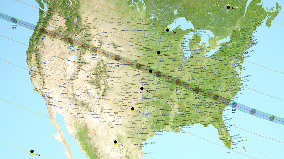 This NASA map shows the path of the Monday, Aug. 21, 2017, solar eclipse. The dark line along the middle is the path of the totality. NASA