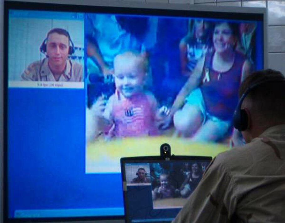 Computer Accessory Image Gallery Soldiers can talk in real time to their family members back home. See more computer accessory pictures. Image courtesy U.S. Department of Defense