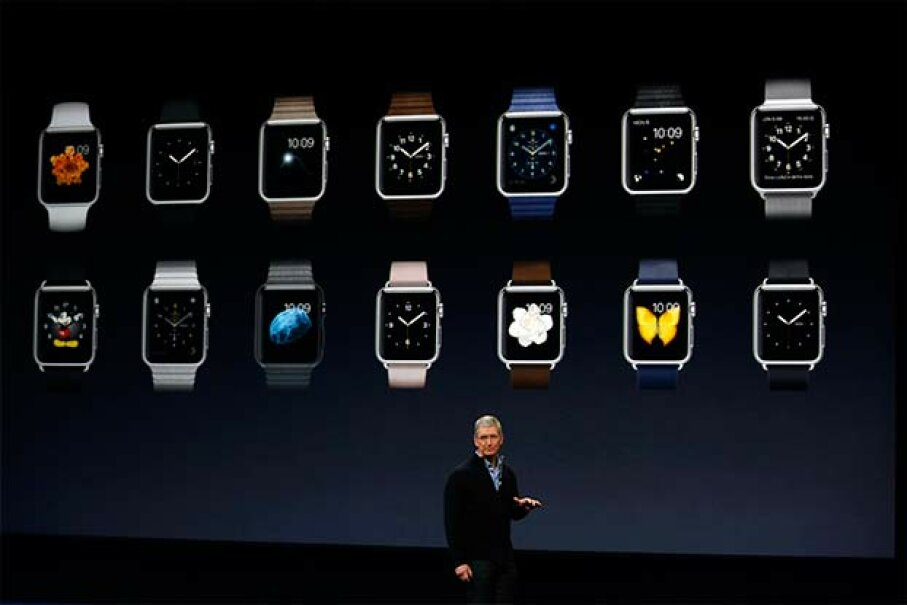 Tim Cook debuts the Apple Watch collection during an Apple special event on March 9, 2015 in San Francisco. What have wearables taught us, so far? Stephen Lam/Getty Images