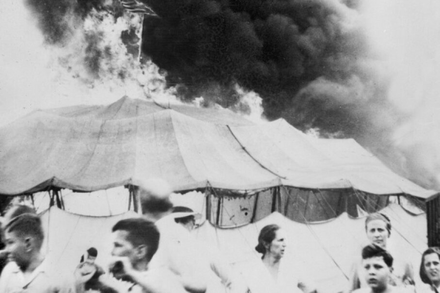 The 1944 circus tent fire proved fatal for many spectators and circus animals. Planet News Archive/SSPL/Getty Images