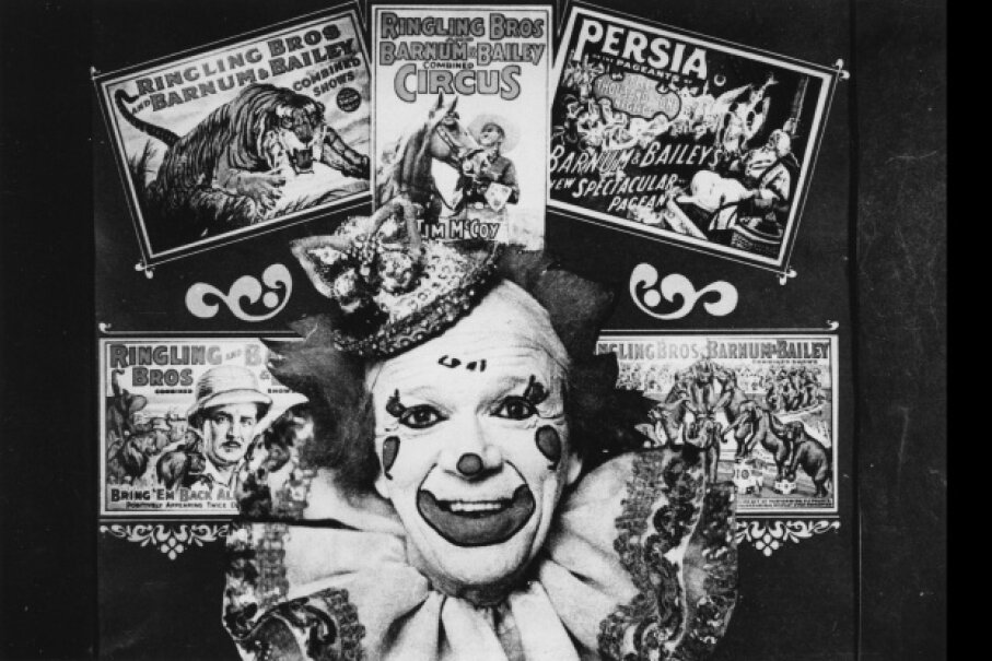 A publicity photograph for the Ringling Brothers & Barnum and Bailey circus shows a collage of posters surrounding a clown.