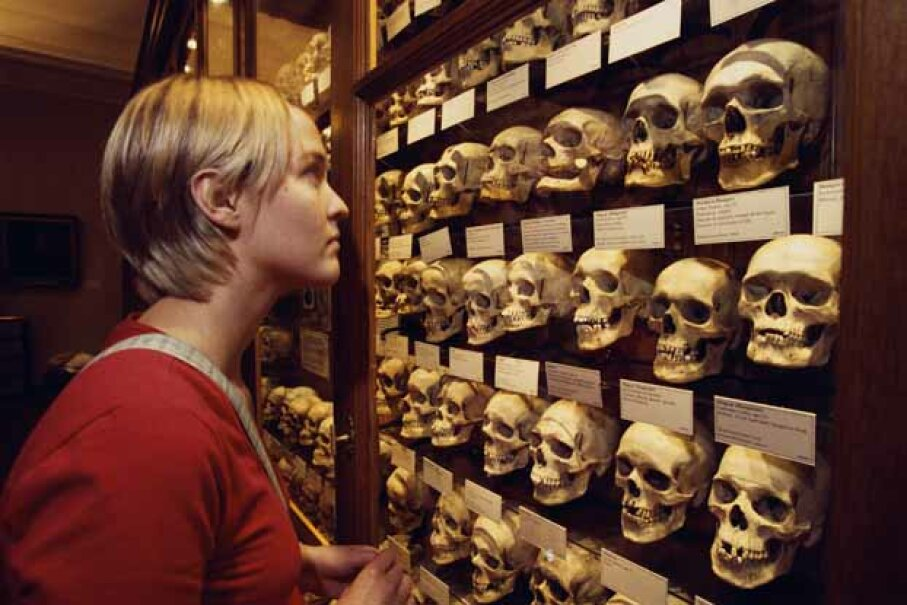 A woman looks at a display of skulls at the Mutter Museum in Philadelphia. © Richard T. Nowitz/CORBIS