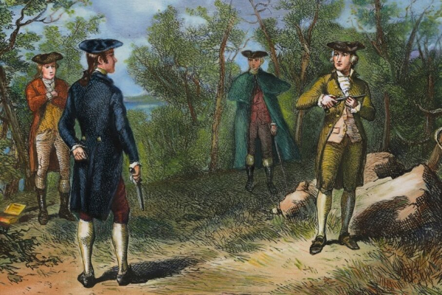 Twenty-four years after what's perhaps America's most famous duel, Congress contemplated banning the practice. Bettmann/Contributor/Getty Images