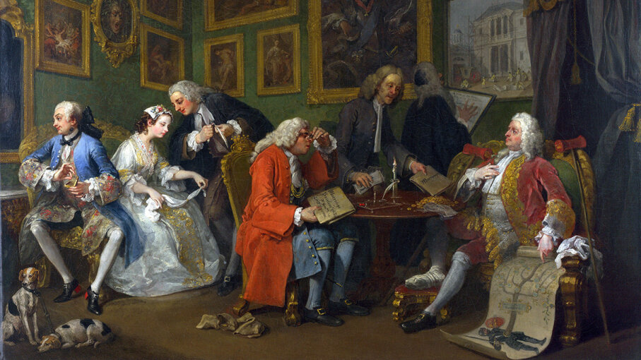 """""""The Marriage Settlement"""" (c. 1743), seen here, is scene one from a series of six satirical paintings by artist William Hogarth. CG Wilson/Corbis via Getty Images"""