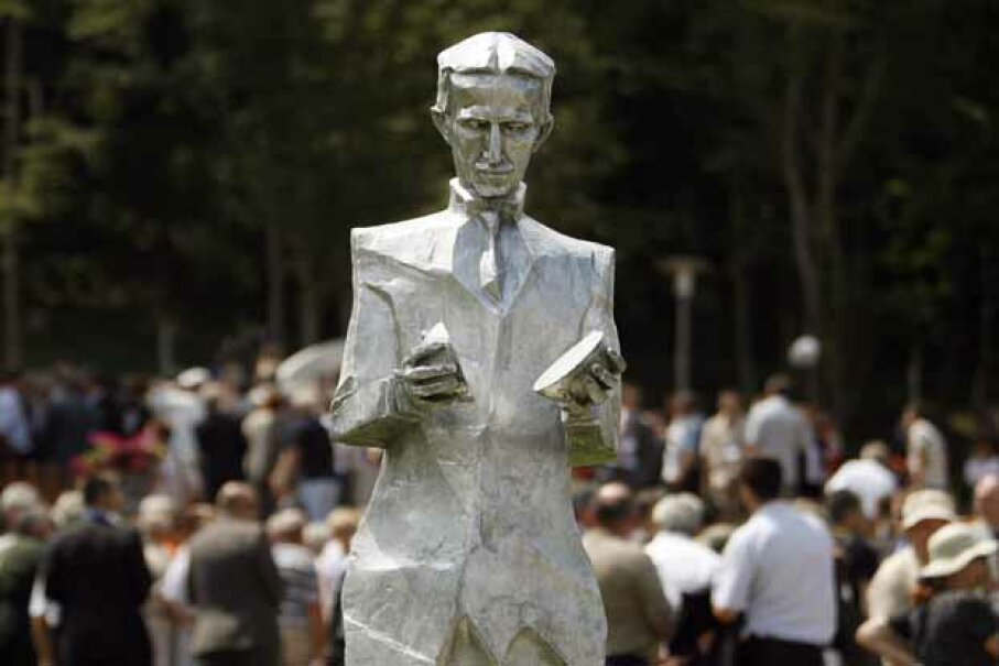 Nikola Tesla -- pictured here in statue form in his native village of Smiljan, Croatia -- is the jumping point for one new wind design. HRVOJE POLAN/AFP/Getty Images
