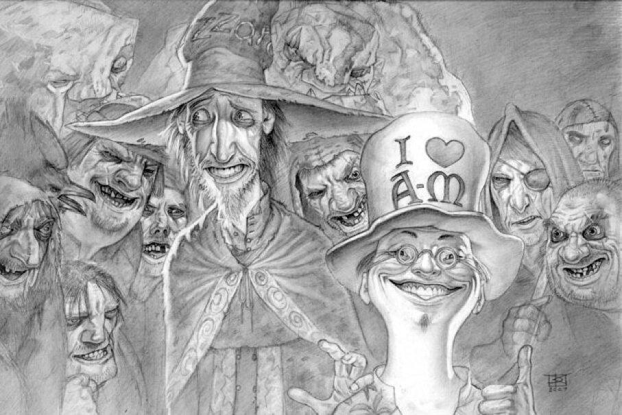 "Rincewind stands out as a champion of bumbling wizardry. Further study: Read the Discworld books of Terry Pratchett, particularly ""The Colour of Magic"" and ""The Light Fantastic."" Copyright Paul Kidby 2013 all reserved, www.paulkidby.net & www.facebook.com/paulkidby"