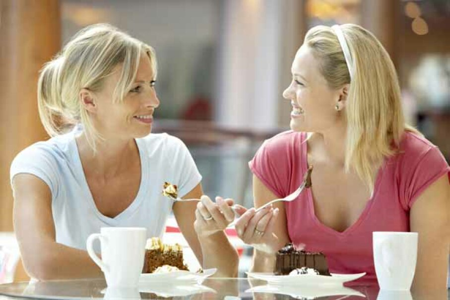 Break the all-day isolation by scheduling a lunch (or dessert) date with a friend. iStock/Thinkstock