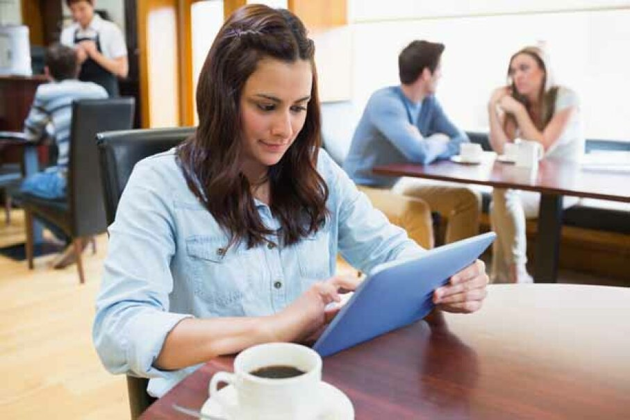 Sometimes working in a coffee shop is a good change of pace. Wavebreak Media/Thinkstock