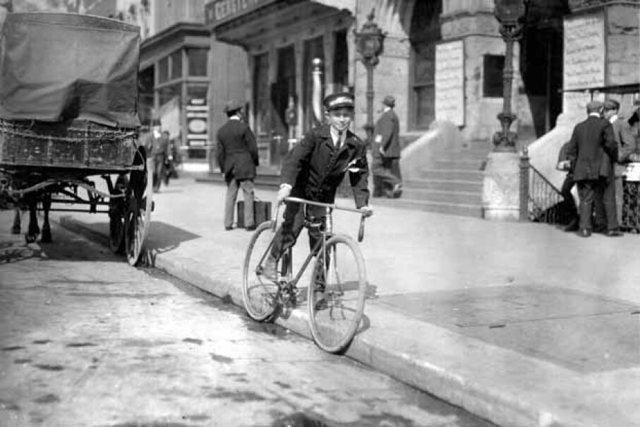 A Western Union messenger, age 15, delivers telegrams in 1912. Back then, Western Union bet on telegrams rather than telephones as the wave of the future. Lewis WickesHine/Buyenlarge/Getty Images