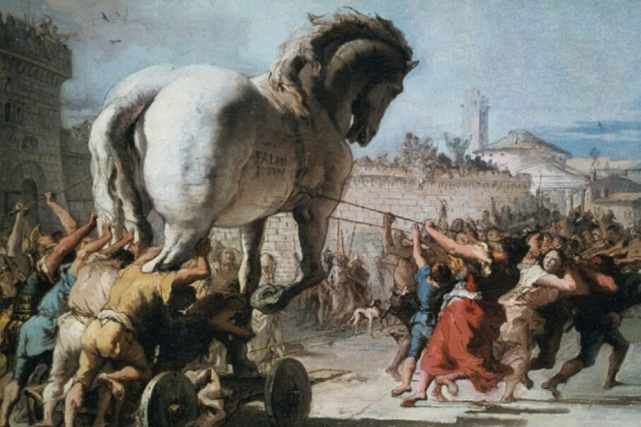 The Trojan Horse being taken into Troy as depicted by Venetian painter Giovanni Domenico Tiepolo circa 1760. ©Universal History Archive/Getty Images