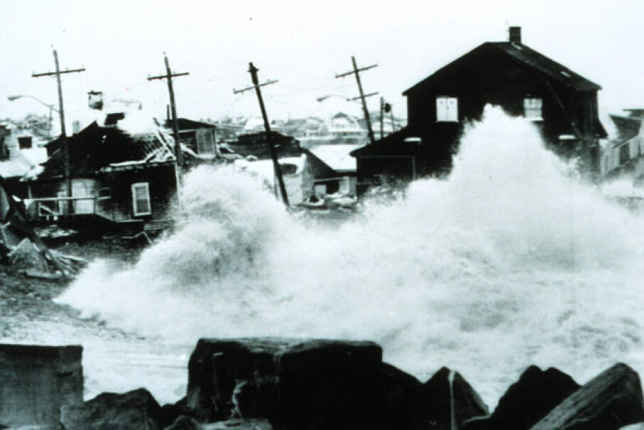 Surf pounds Peggotty Beach, Mass. during the storm of 1978. NOAA