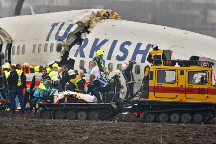 This Turkish Airlines Boeing 737-800 plane, which broke into three pieces when it landed short of the runway at the Netherlands' Schiphol Airport on Feb. 25, 2009, killed four crew member and five passengers. Three additional crew members and another 117 passengers were injured. Paul Vreeker/Getty Images
