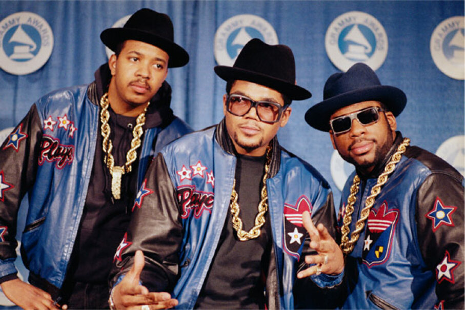 Run-D.M.C. poses in full regalia at the 1988 Grammy Awards. Awwww yeah. © Bettmann/Corbis