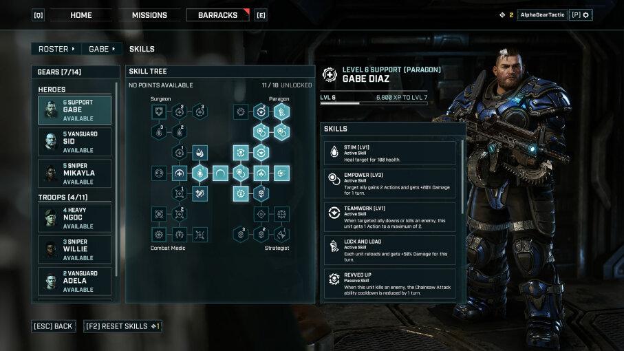 Gear Tactics skill tree